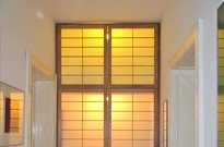 Shoji, 4 Drehtüren, Hintergrundbeleuchtung, B 140cm x H 300cm, Hemlock massiv, Preis: 2.300 EUR